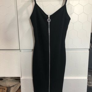 Black zip-up dress